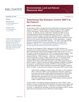 Environmental, Land and Natural Resources Alert Greenhouse Gas Emission Control: BACT to