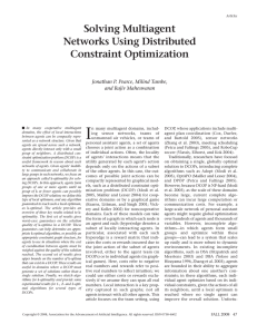I Solving Multiagent Networks Using Distributed Constraint Optimization