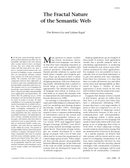 M The Fractal Nature of the Semantic Web Tim Berners-Lee and Lalana Kagal
