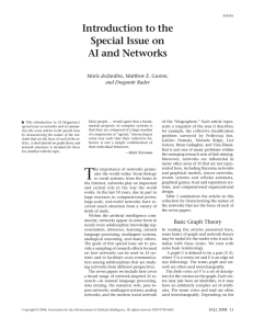 Introduction to the Special Issue on AI and Networks