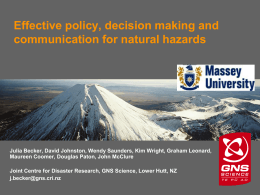 Effective policy, decision making and communication for natural hazards