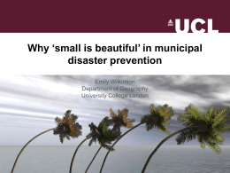 Why 'small is beautiful' in municipal disaster prevention Emily Wilkinson Department of Geography