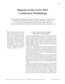 Reports of the AAAI 2012 Conference Workshops