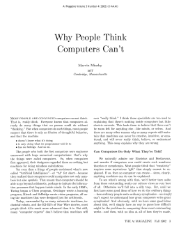 Why  People  Think Computers Can't Marvin  Minsky