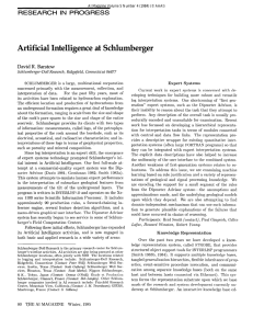 Artificial  Intelligence  at Schlumberrrer RESEARCH IN  PROGRESS