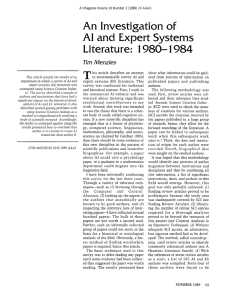 An  Investigation  of Literature:  1 980-l  984