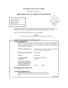 FIRE-TROL® LCA-F, LIQUID CONCENTRATE MATERIAL SAFETY DATA SHEET