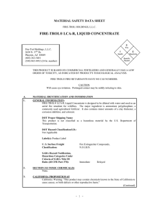FIRE-TROL® LCA-R, LIQUID CONCENTRATE MATERIAL SAFETY DATA SHEET