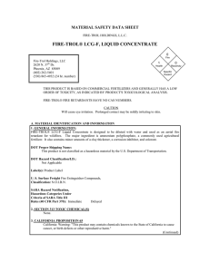 FIRE-TROL® LCG-F, LIQUID CONCENTRATE MATERIAL SAFETY DATA SHEET