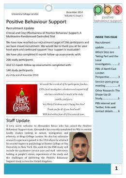 Positive Behaviour Support Recruitment Update