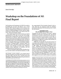 Workshop  on  the  Foundations  of ... Final  Report Derek  Partridge