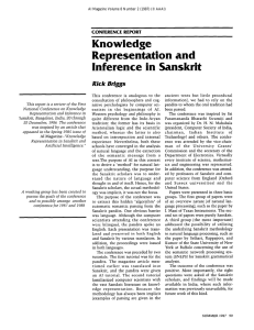 Knowledge Representation ancl Inference  in  Sanskrit