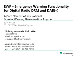 EWF – Emergency Warning Functionality for Digital Radio DRM and DAB(+)