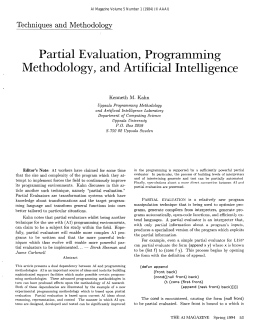 Partial  Evaluation,  Programming Techniques  and  Methodology