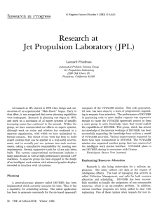 Research  at Jet  Propulsion Laboratory (JPL)