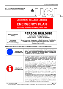 EMERGENCY PLAN PERSON BUILDING UNIVERSITY COLLEGE LONDON University College London