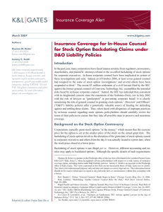 Insurance Coverage Alert Insurance Coverage for In-House Counsel D&O Liability Policies