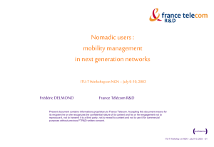 Nomadic users : mobility management in next generation networks Frédéric DELMOND