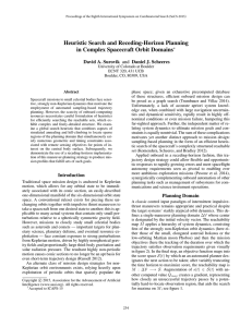 Heuristic Search and Receding-Horizon Planning in Complex Spacecraft Orbit Domains