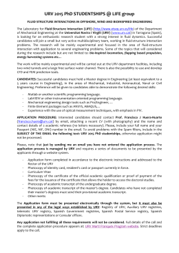 URV 2015 PhD STUDENTSHIPS @ LIFE group