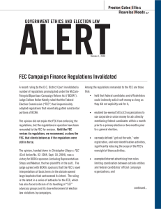ALERT FEC Campaign Finance Regulations Invalidated GOVERNMENT ETHICS AND ELECTION LAW