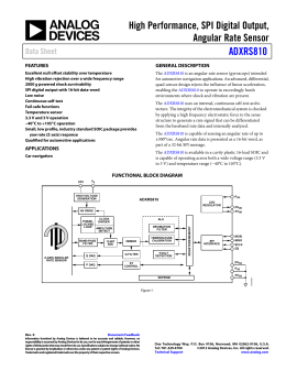 High Performance, SPI Digital Output, Angular Rate Sensor ADXRS810 Data Sheet