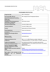 PROGRAMME SPECIFICATION Programme title: Final award (BSc, MA etc):