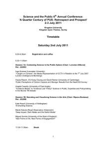 Science and the Public 6 Annual Conference: 2-3 July 2011