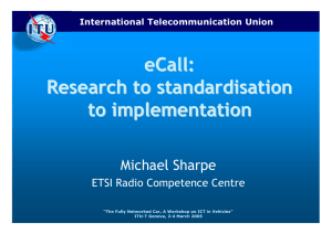 eCall : Research to standardisation