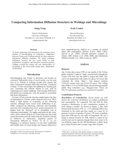 Comparing Information Diffusion Structure in Weblogs and Microblogs Jiang Yang Scott Counts