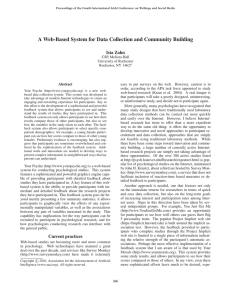 A Web-Based System for Data Collection and Community Building Ista Zahn
