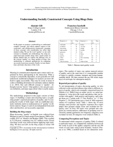 Understanding Socially Constructed Concepts Using Blogs Data Alastair Gill Francisco Iacobelli