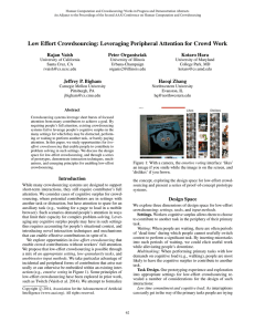 Low Effort Crowdsourcing: Leveraging Peripheral Attention for Crowd Work Rajan Vaish