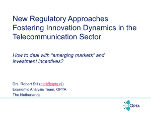 New Regulatory Approaches Fostering Innovation Dynamics in the Telecommunication Sector