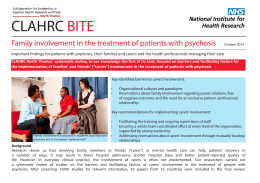 CLAHRC BITE  Family involvement in the treatment of patients with psychosis
