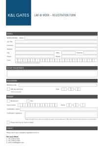 LAW @ WORK – REGISTRATION FORM DETAILS DIETARY REQUIREMENTS REGISTRATION