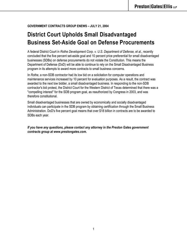 District court upholds small disadvantaged business set aside goal district court upholds small disadvantaged business set aside goal on defense procurements xflitez Gallery