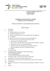 Final Report of the Preparatory Meeting (PrepCom-2 of the Tunis phase)