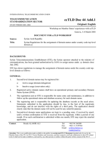 ccTLD Doc 44 Add.1 Original: English TELECOMMUNICATION STANDARDIZATION SECTOR