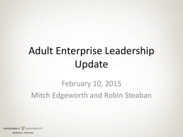Adult Enterprise Leadership Update February 10, 2015 Mitch Edgeworth and Robin Steaban