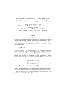 A Modified Lotka-Volterra Competition Model with a Non-Linear Relationship Between Species