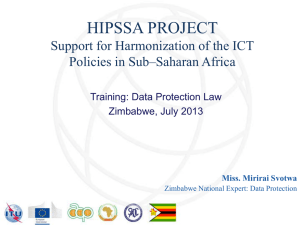 HIPSSA PROJECT Support for Harmonization of the ICT Policies in Sub–Saharan Africa