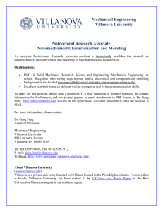 Mechanical Engineering Villanova University Postdoctoral Research Associate: