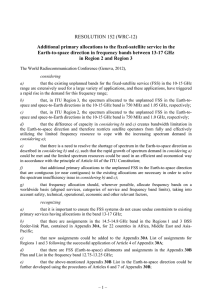 RESOLUTION 152 (WRC-12) Earth-to-space direction in frequency bands between 13-17 GHz