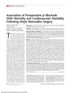 Association of Perioperative With Mortality and Cardiovascular Morbidity Following Major Noncardiac Surgery -Blockade