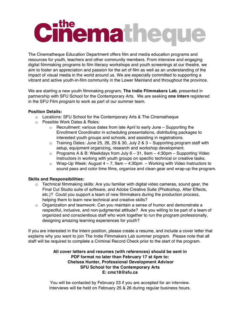The Cinematheque Education Department offers film and media ...