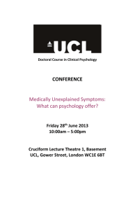 CONFERENCE  Medically Unexplained Symptoms: What can psychology offer?