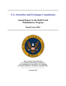 U.S. Securities and Exchange Commission Annual Report on the Dodd-Frank Whistleblower Program