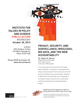 INSTITUTE FOR VALUES IN POLICY AND SCIENCE PRIVACY, SECURITY, AND