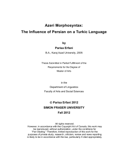Azeri Morphosyntax: The Influence of Persian on a Turkic Language by Parisa Erfani